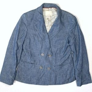 Banana Republic 4 Small Blue Chambray Blazer